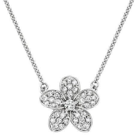 Diamond pendant, Cluster Diamond pendant, flower