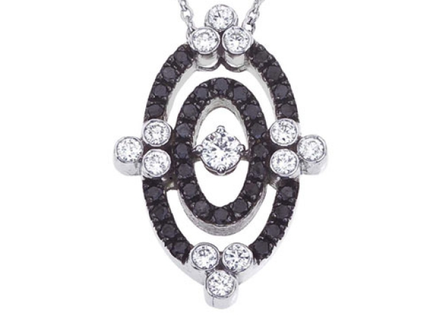 Diamond pendant, Cluster Diamond pendant, black diamonds. antique estate pendant