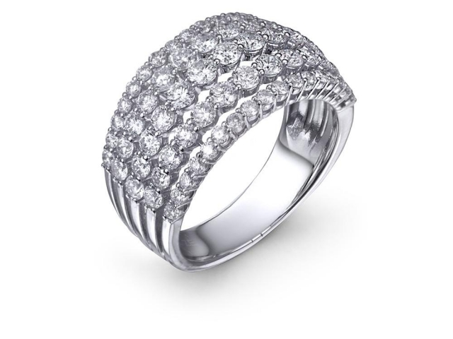 five row diamond wedding band