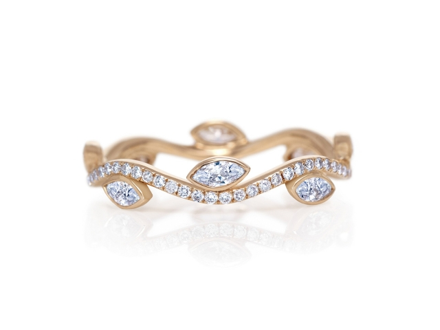 custom band with different shape diamonds