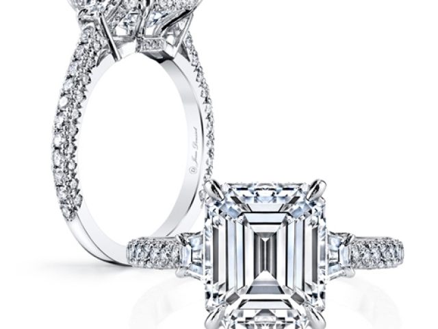 Diamond Solitaire Engagement ring emerald cut diamond