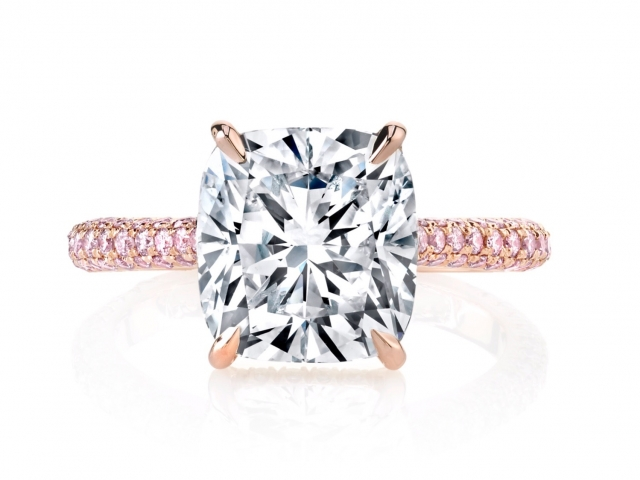 Diamond Solitaire Engagement ring cushion cut diamond