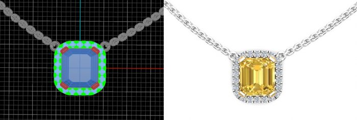 fancy custom white diamond, yellow diamond art deco, modern necklaces