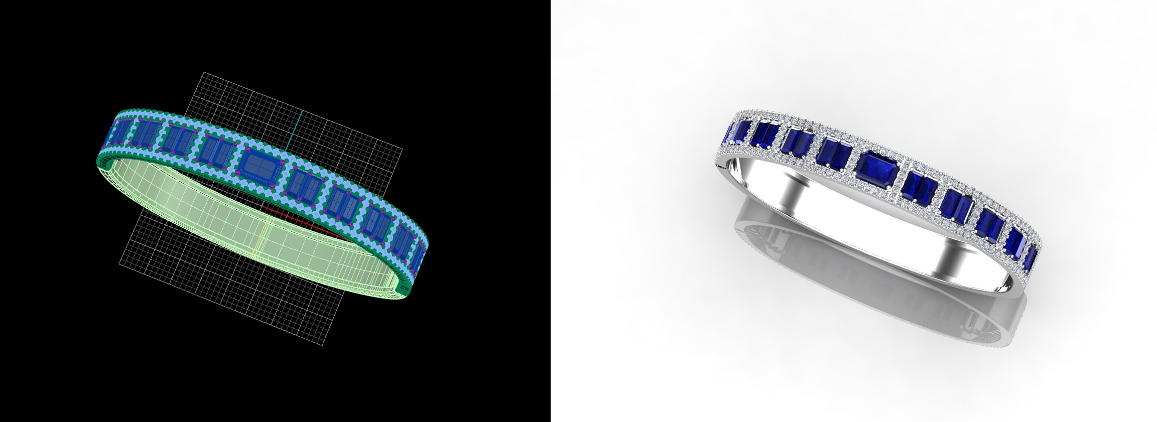 Custom designed diamond and colored stone bracelets , cuffs , slip ons, stackackables