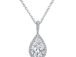 pear shaped diamond necklace, Diamond solitaire with a Halo of diamonds, Marquise, oval, round pear shaped