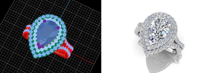 Pear shaped halo ring