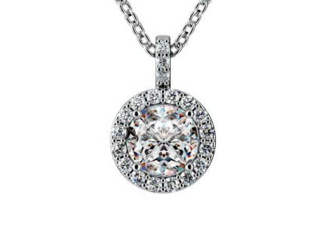Diamond solitaire necklace, tiffany, halo pattern