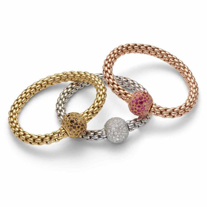 18ky yellow, rose and white gold with diamond beads